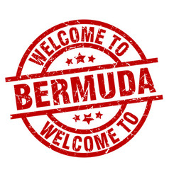 Welcome to bermuda red stamp vector