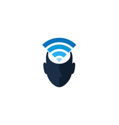 Wifi human head logo icon design vector