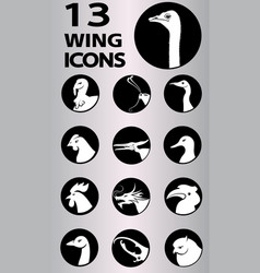 wing icons collection vector image