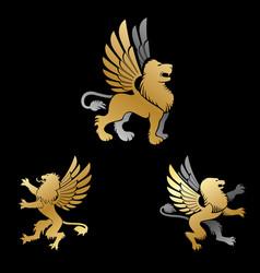 Winged lion ancient emblems elements set heraldic vector