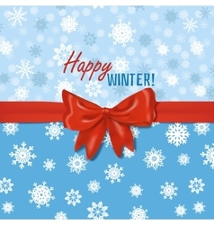 Winter card template with red bow vector