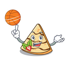 With basketball crepe character cartoon style vector