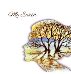Woman head silhouette with tree vector