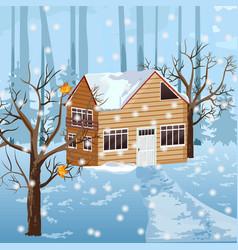 Wood house at winter season snowing vector