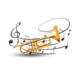 Golden trumpet with music notes in background vector