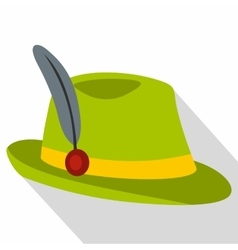 Green hat with feather icon flat style vector image vector image