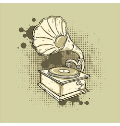 Grunge Gramophone vector image vector image