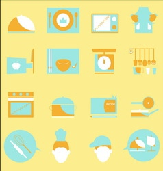 Kitchen color icons on yellow background vector image