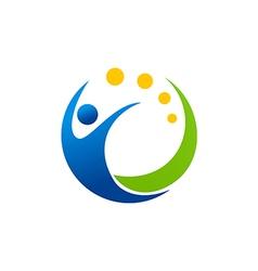 People swoosh sport happy logo vector