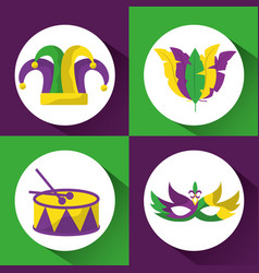 set colored mardi gras hat drum mask and feathers vector image