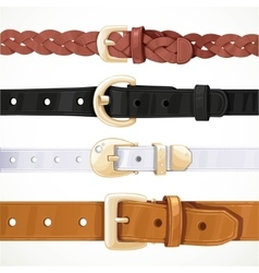 Set of multicolored buttoned to buckle belts vector image