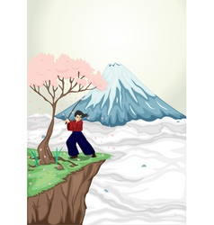 volcano mouth and japanese boy vector image vector image