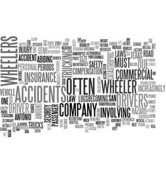 wheeler accidents in san antonio tx text word vector image vector image