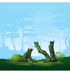 Broken trees with a curved crown vector image