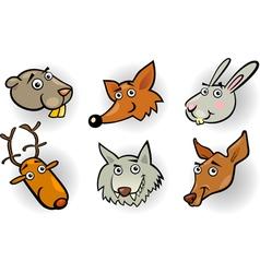 Cartoon forest animals heads set vector image