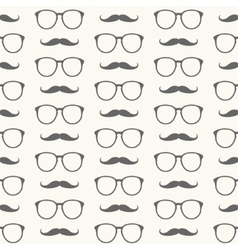 seamless pattern of mustache and glasses vector image