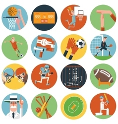 Team sport icons set flat vector image vector image