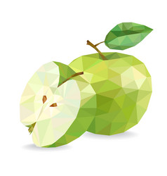 apple and slice low poly vector image