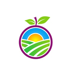 fresh nature farm fruit logo vector image