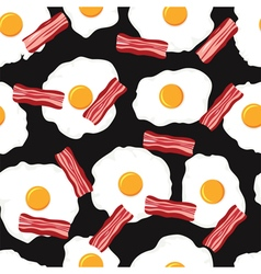 fried eggs and bacon slices vector image