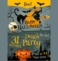 halloween party poster for holiday night vector image