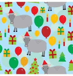 New year christmas seamless pattern on a blue vector image