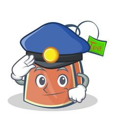 police tea bag character cartoon vector image