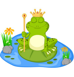 prince frog cartoon sitting on a leaf vector image vector image
