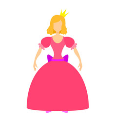 princess in pink dress icon cartoon style vector image