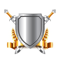 Coat of arms with swords isolated on white vector image vector image