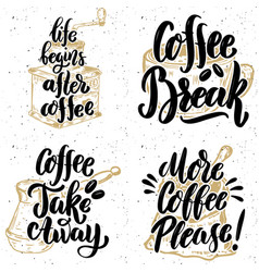 coffee take away more coffee please hand drawn vector image vector image
