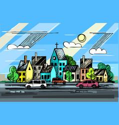 colore ink urban sketch vector image