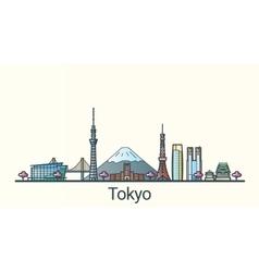 Flat line Tokyo banner vector image vector image