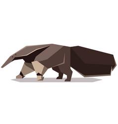 flat polygonal giant anteater vector image