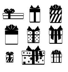 Gift boxes with ribbon bows icons set isolated vector image vector image