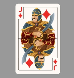Jack of diamonds playing card vector image vector image