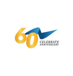 60 years anniversary celebration elegant ribbon vector