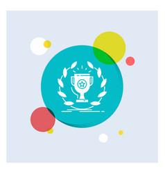 award cup prize reward victory white glyph icon vector image