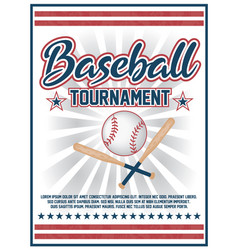 baseball tournament flyer design vector image