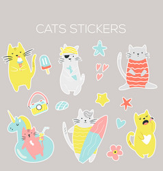 big set icons stickers funny summer cats vector image