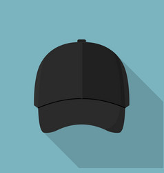 black front baseball cap icon flat style vector image