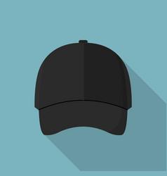 black front baseball cap icon flat style vector image