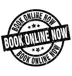 book online now round grunge black stamp vector image
