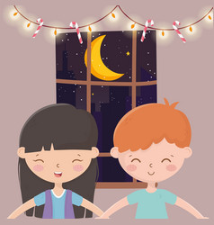 Boy and girl glowing lights candy canes window vector