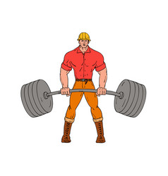 buffed lumberjack lifting weights cartoon vector image