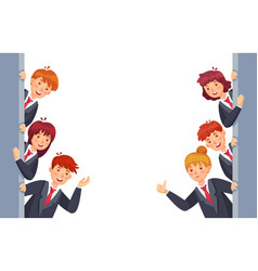 business people look out from both sides young vector image