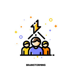 business team and lightning as brainstorming icon vector image