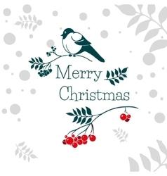 Christmas card with bullfinch and rowan branch vector image