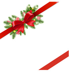 christmas red ribbon and bow isolated vector image