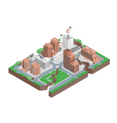 city hit earthquake concept 3d isometric view vector image